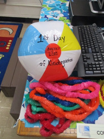 On our first day we took turns posing with this beach ball and each got to wear a colorful lei!